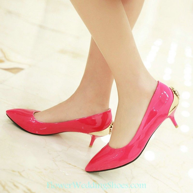 Free Shipping Pointed Toe Low Heel Hot Pink Prom Shoes With Gold ...