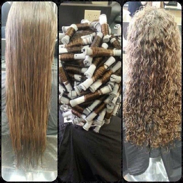 before and after spiral perm on gray rods