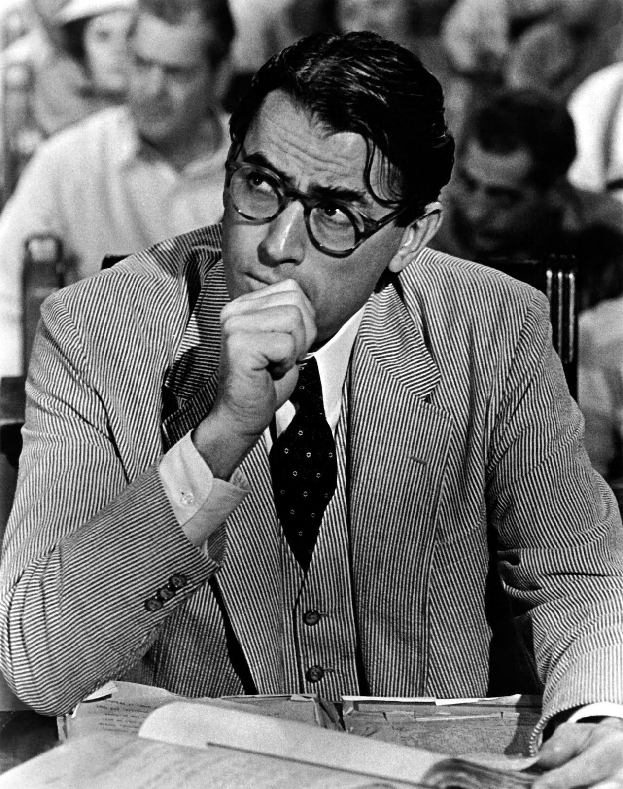 Gregory Peck As Atticus Finch With Documents In Court In To Kill A
