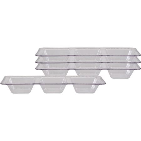 Better Homes and Gardens Clear 3-Compartment Divider Trays with Hammered Texture, Set of 4