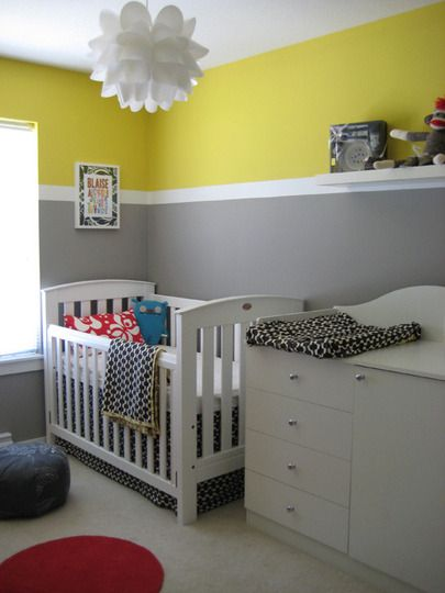 Gray And Yellow With A Pop Of Red Try With Pop Of Teal Or Turq Though Like The Paint On The Walls And The Light Fixture Grey Yellow Nursery Boy Room