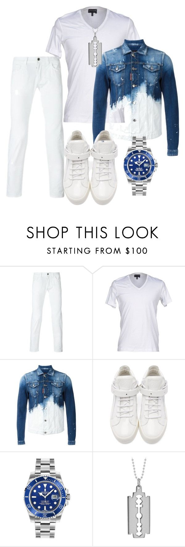 """Untitled #2905"" by styledbycharlieb ❤ liked on Polyvore featuring Emporio Armani, Dsquared2, Giuseppe Zanotti, Rolex and True Rocks"