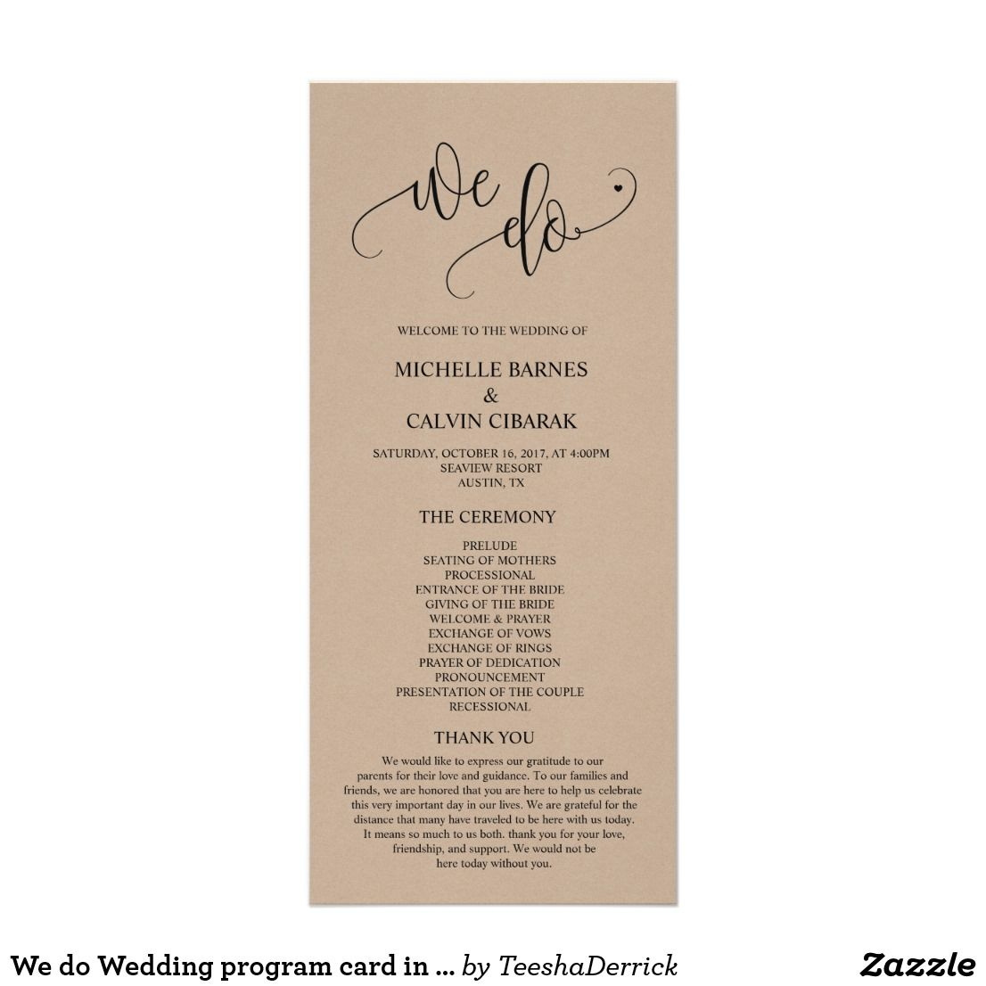 We Do Wedding Program Card In Modern Rustic Theme Zazzle Com Modern Rustic Design Rustic Cafe Rustic House