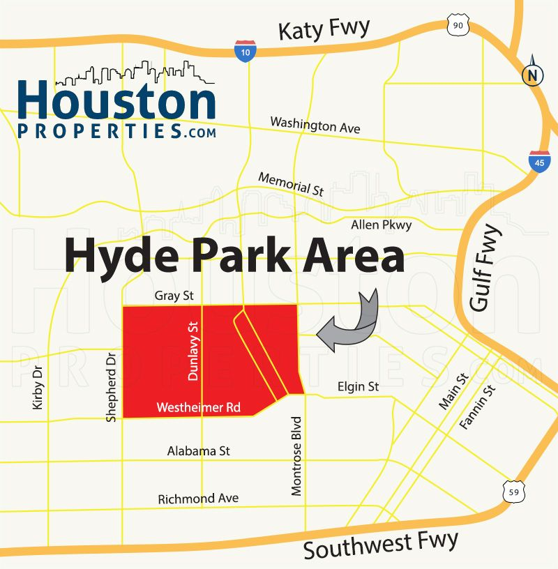 Houston Map, Hyde Park Map