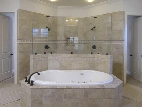 Master Bathroom Tub With Walk Through Shower Behind It
