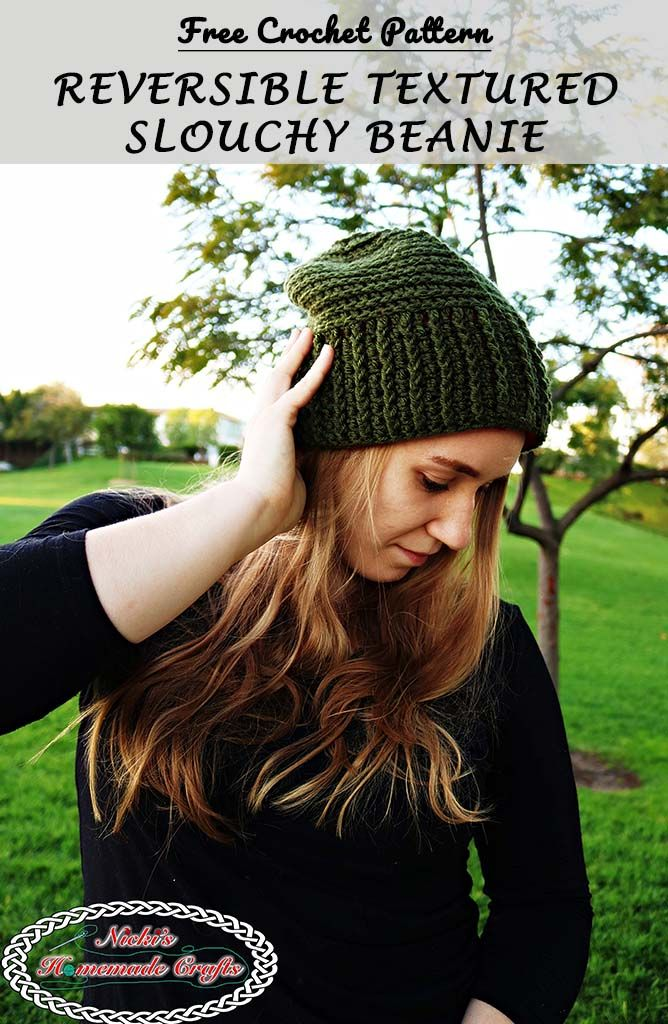 Reversible Textured Slouchy Beanie - Red Green - Free Crochet ...