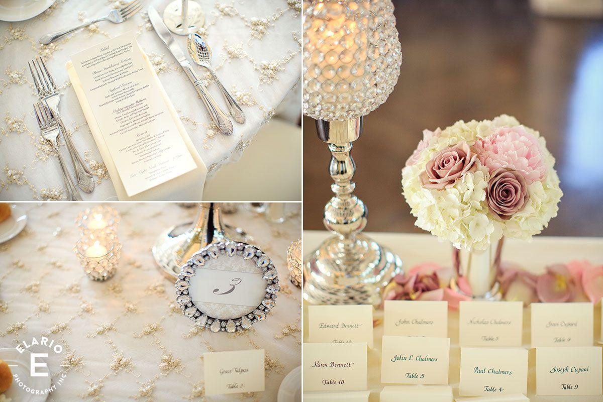 crystal frames, beaded table linen, elegant wedding, vintage, white ...