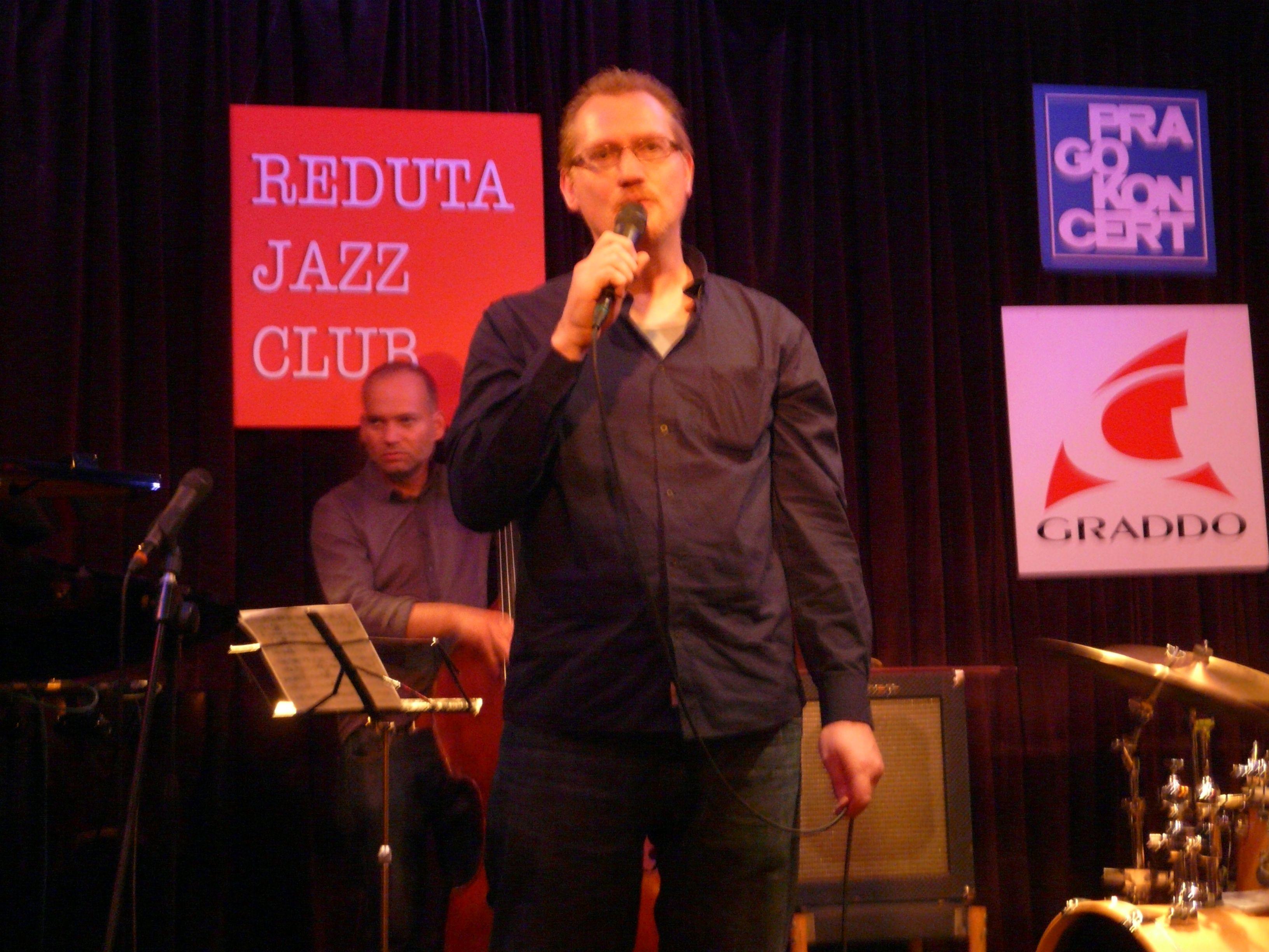 Vincent on stage of Reduta Jazz Club, Prague