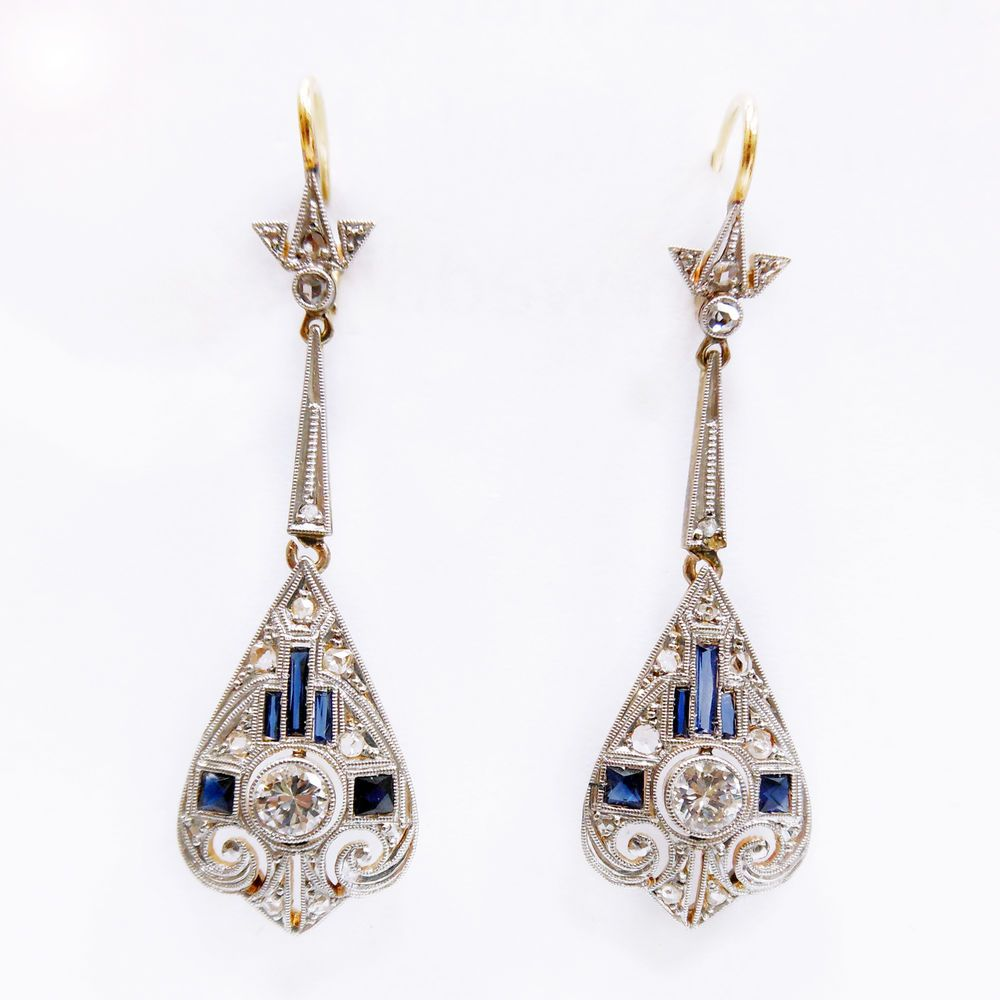 1930 ANTIQUE ART DECO 3/4ctw DIAMOND SAPPHIRE PLATINUM 14K  DANGLE EARRINGS  #Handmade #Dangle