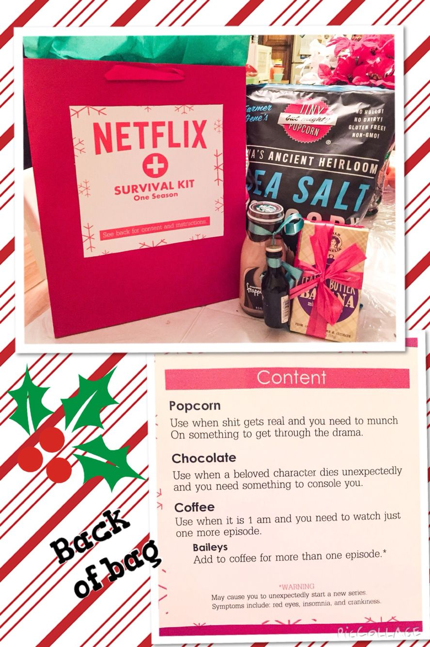 a gift i made for my secret santa at work netflix survival kit