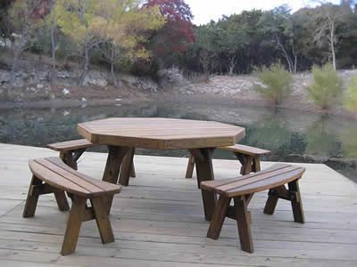 Octagon Picnic Table With Separate Benches Picnic Table Octagon