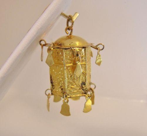 14k Yellow Gold 3D Asian Lantern Charm Pendant 3 2gr | eBay..