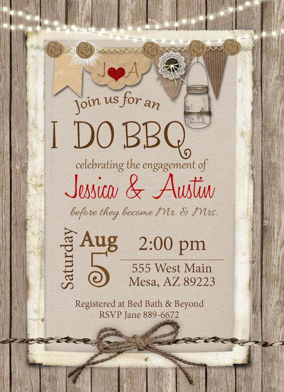 1a55b166750 I Do BBQ Invitation Engagement Party Burlap by WallflowerEvents