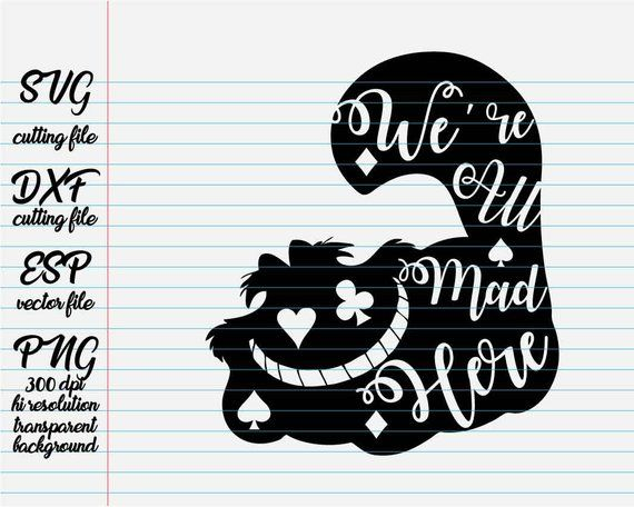 We are all mad here Alice in wonderland quote Disney