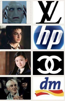 Marcas!! #logotipos #logos #harry #potter #funny #fun #brand #hp #cc #dm #voldemort #malfoy #zueiras
