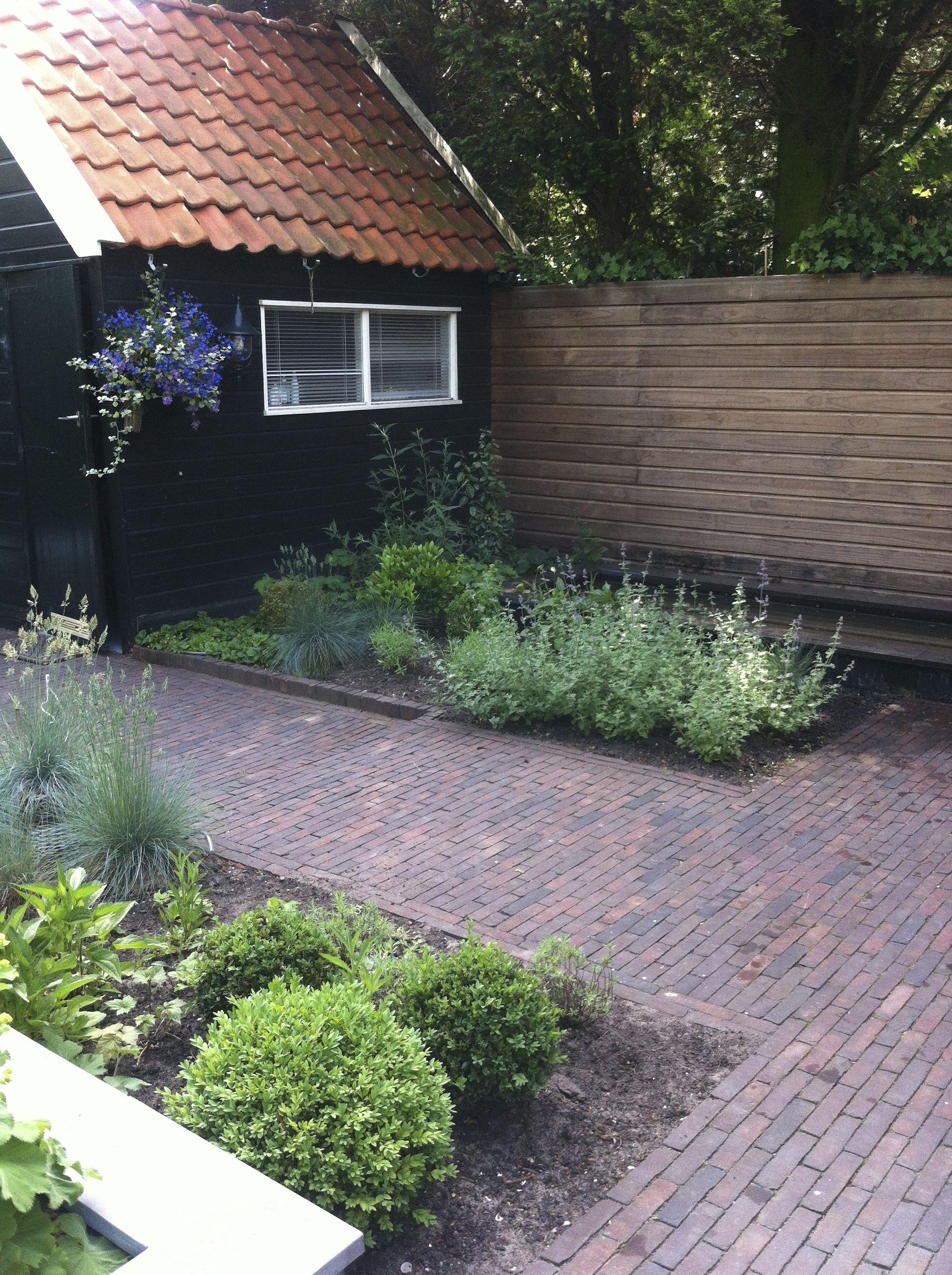 Tuin met gebakken walen lange smalle vijver en verhoogde plantenbak