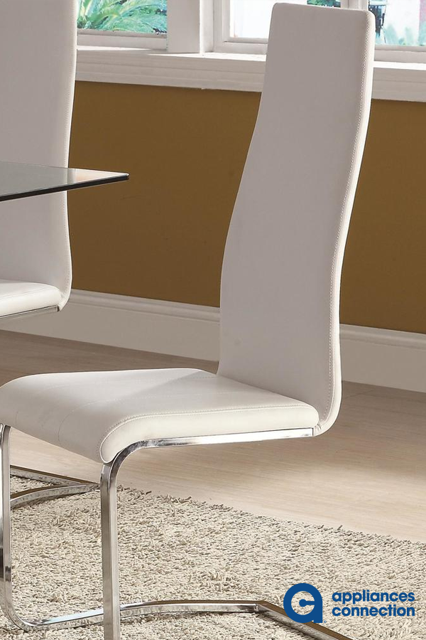 Coaster 100515wht 356 00 In 2020 Dining Chairs Faux Leather Dining Chairs Leather Dining Chairs