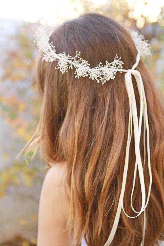 Bridal hair accessories babys breath - Baby S Breath Crown Ivory Bridal Headband Wedding Hairpiece 30 00 Via Etsy