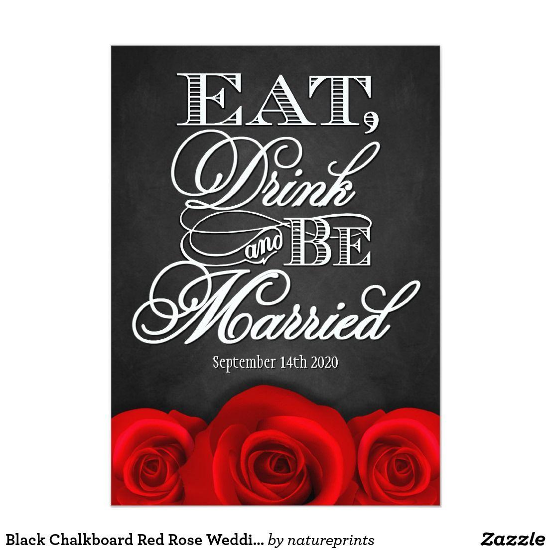 Black Chalkboard Red Rose Wedding Invitations Black Chalkboard