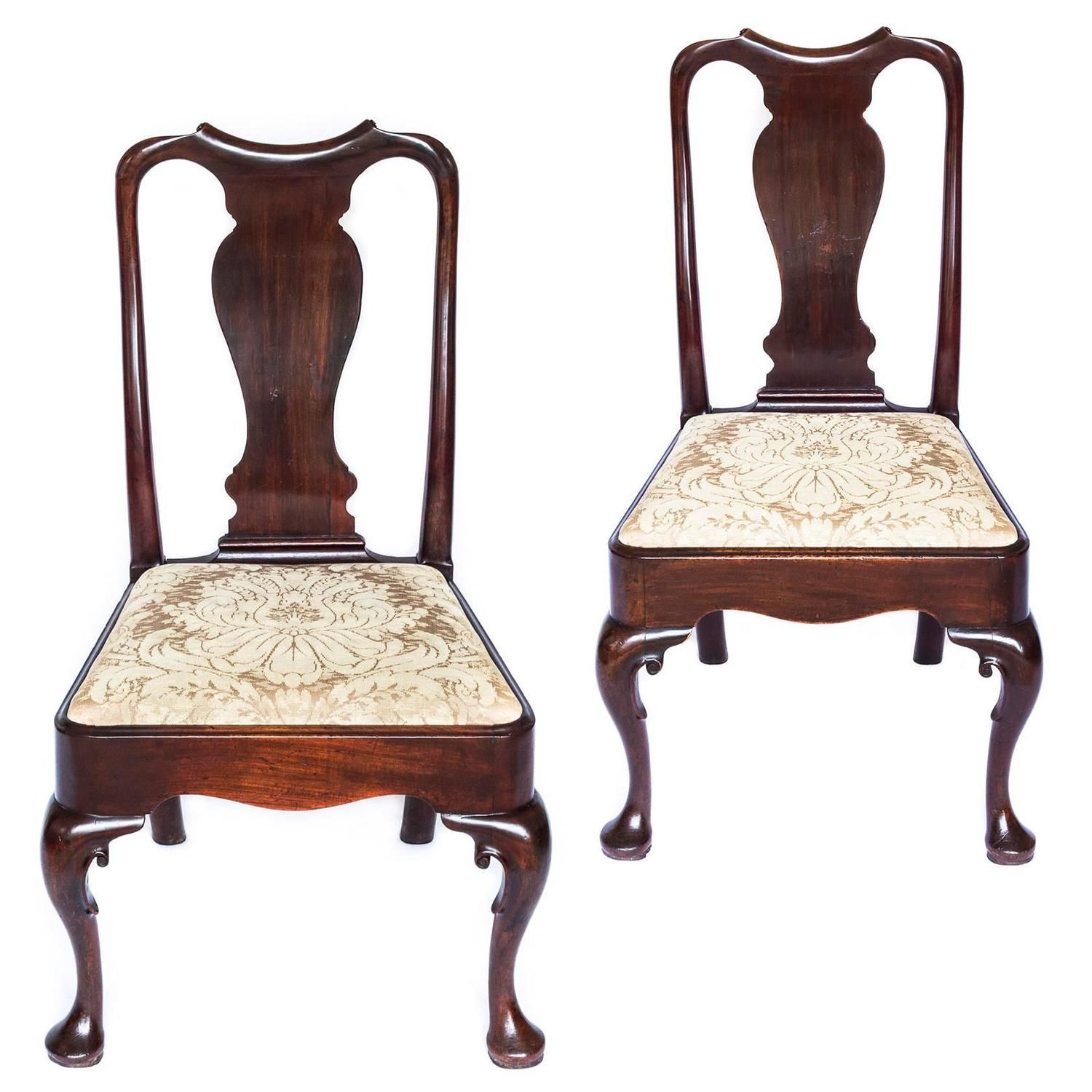 English 18th Century George II Queen Anne Pair of Mahogany Cabriole