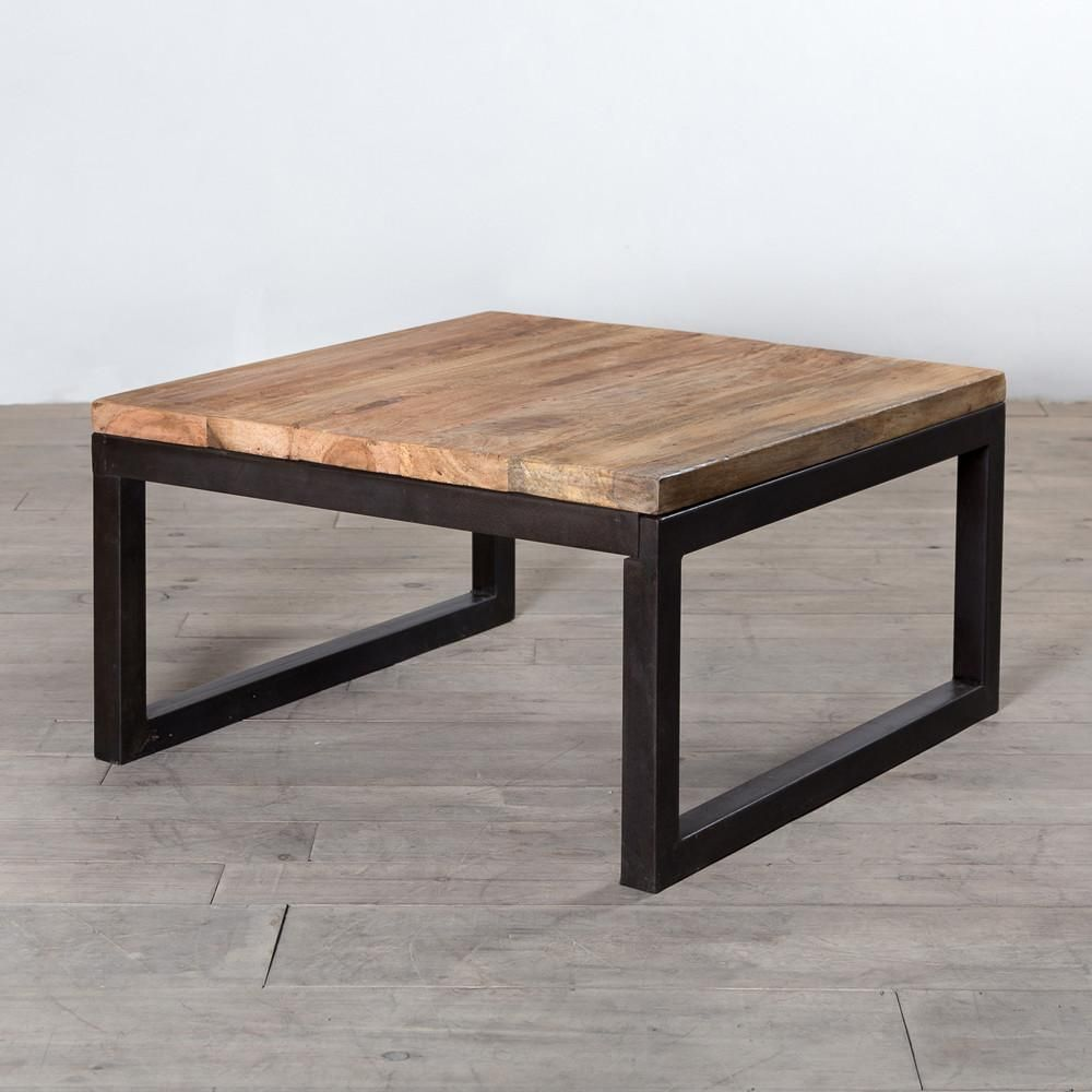 Elegant Distressed Wood and Metal Coffee Table