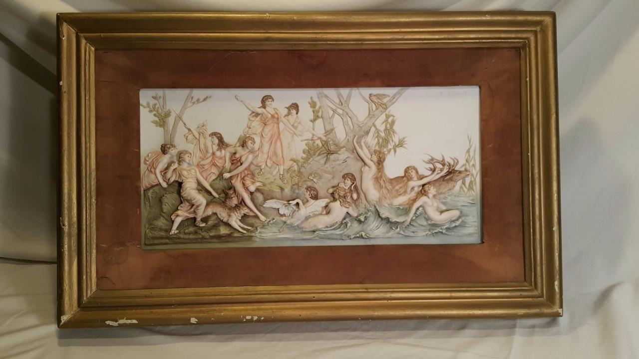 "Ant Henriot Quimper 3D Bas Relief Porcelain Wall Plaque Makart ""Hunt of Diana"" | eBay"