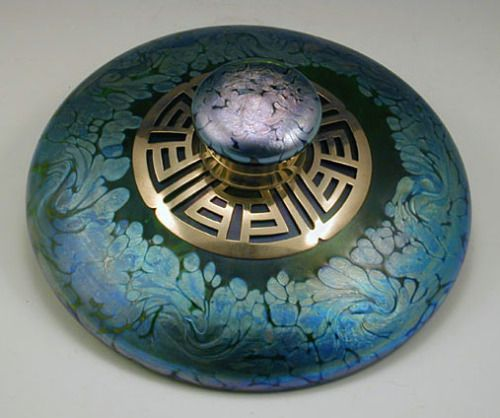 """treasures-and-beauty: """"Loetz Iridescent Inkwell with Brass Collar, made in Austria ca. 1905 """""""