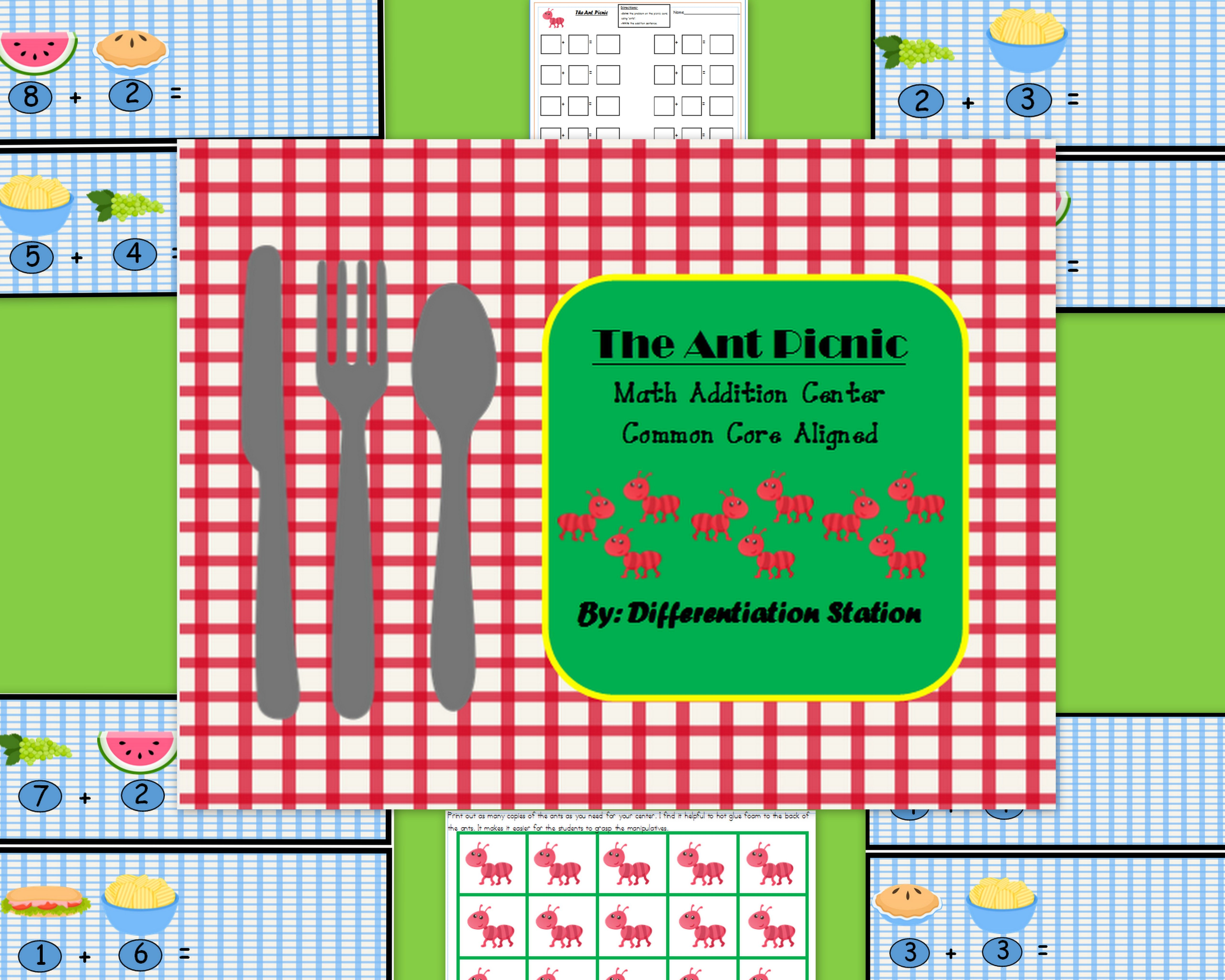Free Ant Picnic Addition Math Center Find The Sums
