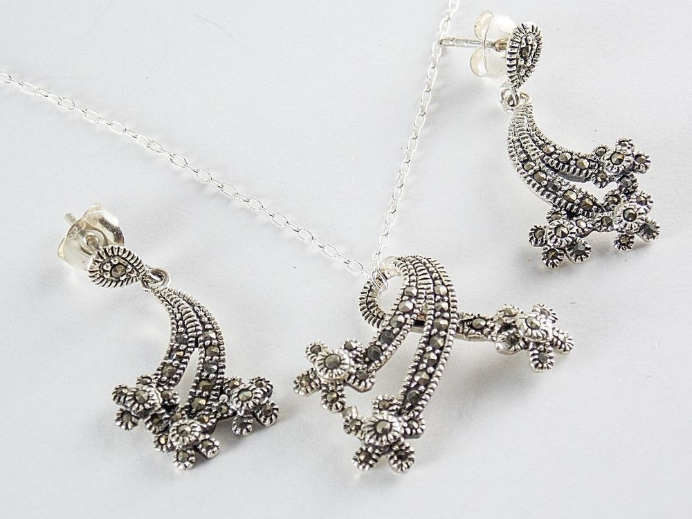 08e7c47b409dd Marcasite Necklace & Earring Set in 925 Sterling Silver 18 inch ...