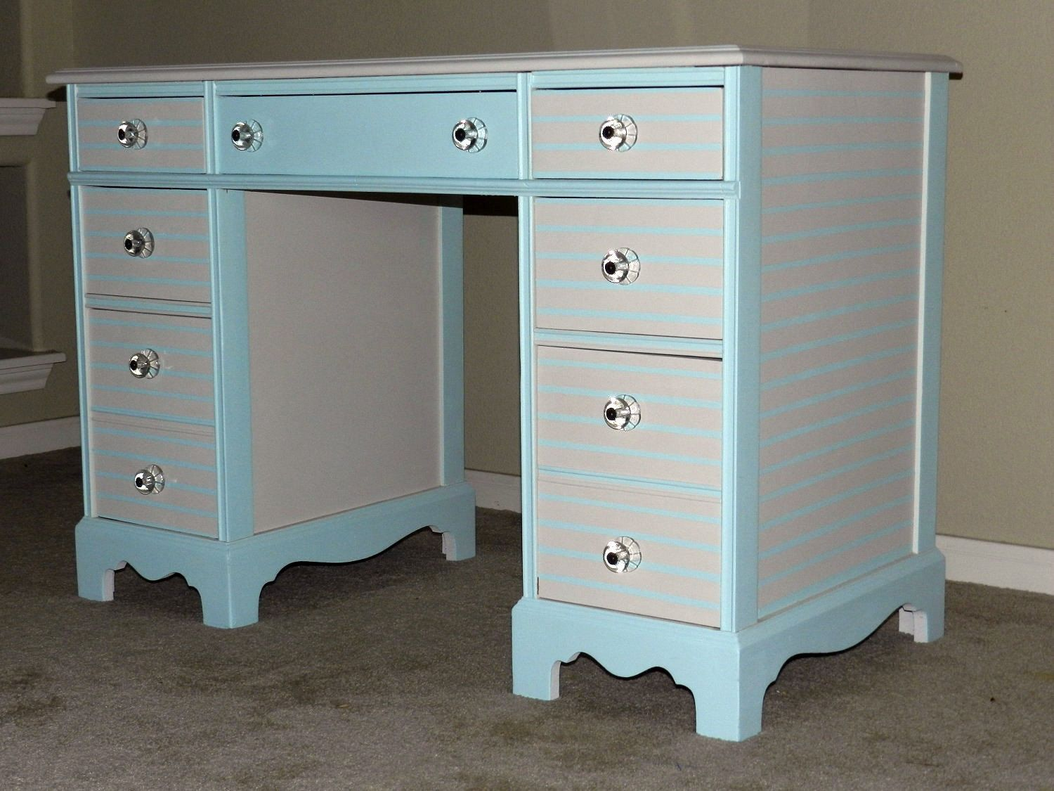 painted furniture, vintage desk, anthropologie glass knobs, craft room, chic furniture, one of a kind, hand painted desk, blue, unique furniture
