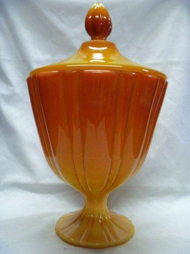 Large Decorative Glass Jars With Lids Large Vintage Persimmon Orange Slag Glass Jar W Lidlesmith
