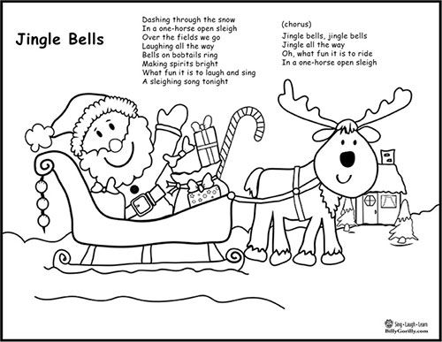 image regarding Jingle Bells Lyrics Printable named Printable - Santa Sleigh Coloring Web site with Jingle Bells