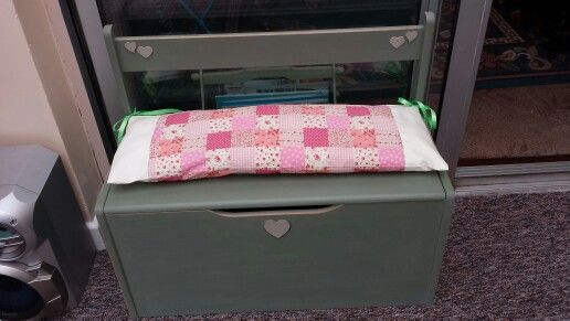 Lovely little bench box. Painted and waved in period green. .patchwork cushion.  Great for a small child. Seating and storage .