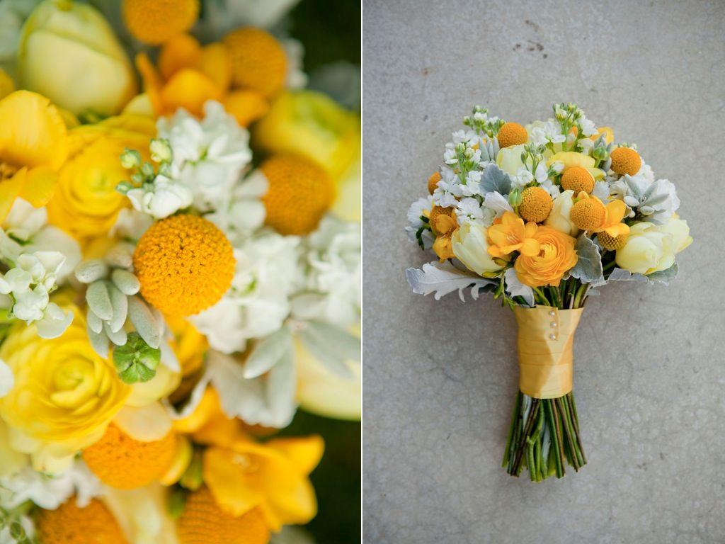 yellow billy ball ranunculus freesia tulip wedding bouquet utah wedding florist calie rose www.calierose.com