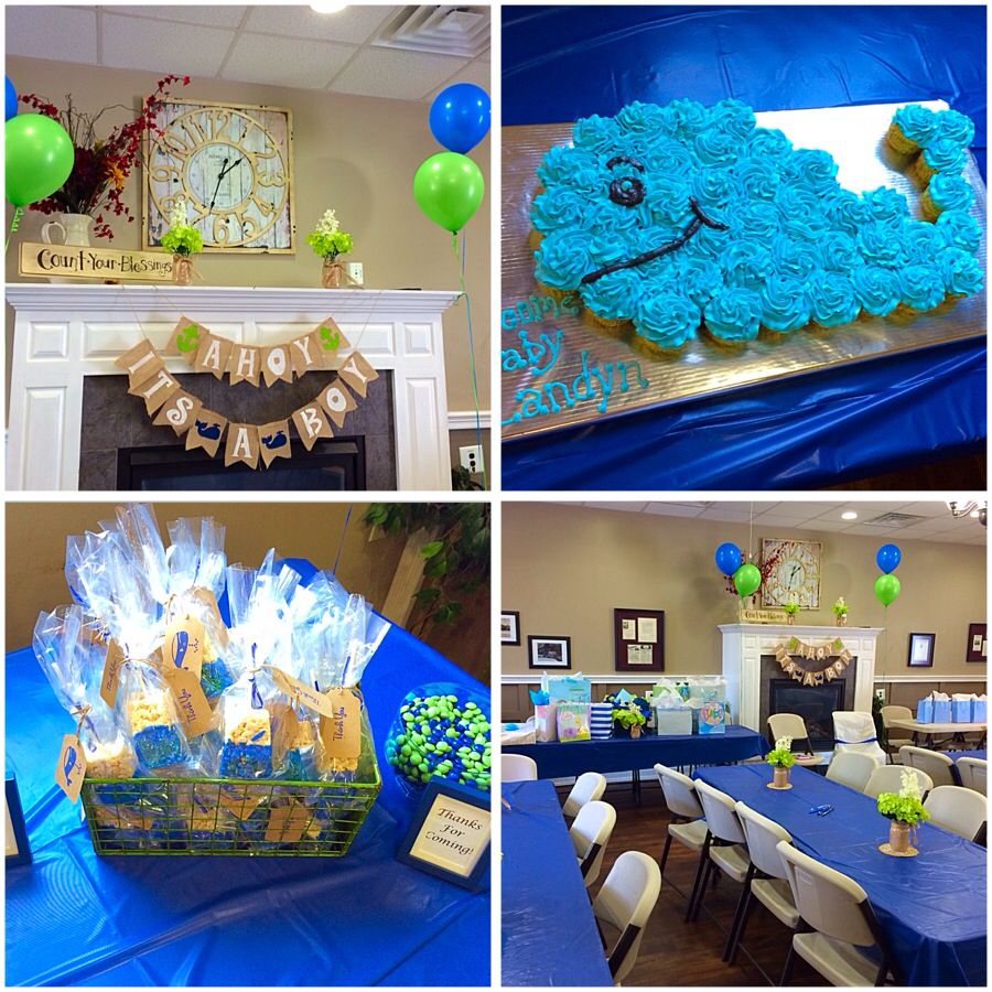 My navy blue and lime green whale baby shower turned out ...