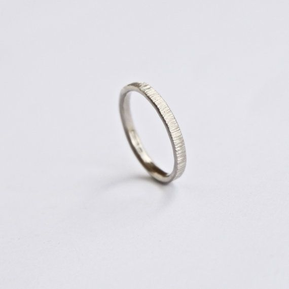White Gold Wedding Band Tree Bark Ring Thin Ring 18 Carat