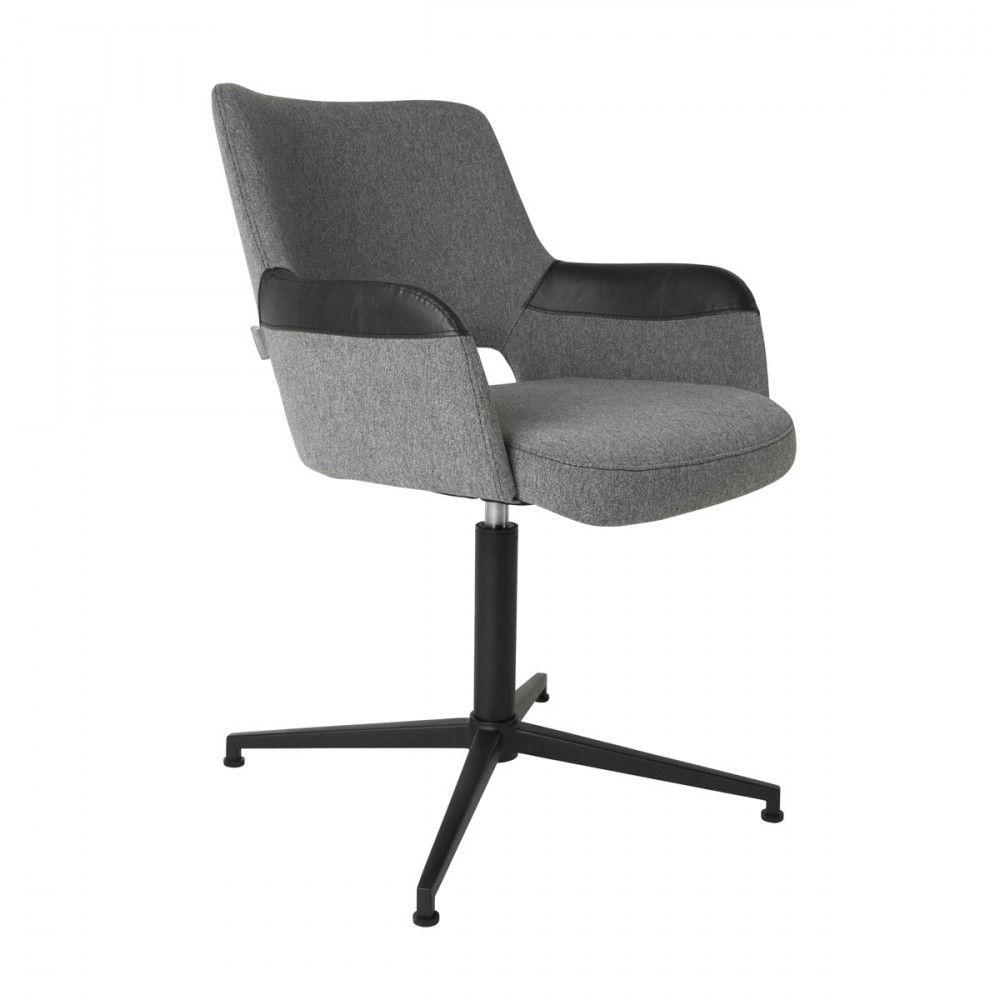 Fauteuil de bureau design gris et noir pivotant Syl Zuiver