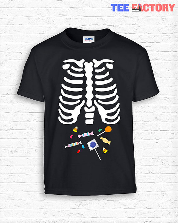 a2f7123be3 Kids Skeleton CANDY Ribcage Halloween Costume Toddler Bodysuit Tee T-Shirt T  Shirt Tees Youth Soft • Xray Junk Food Funny Kids School TF-166