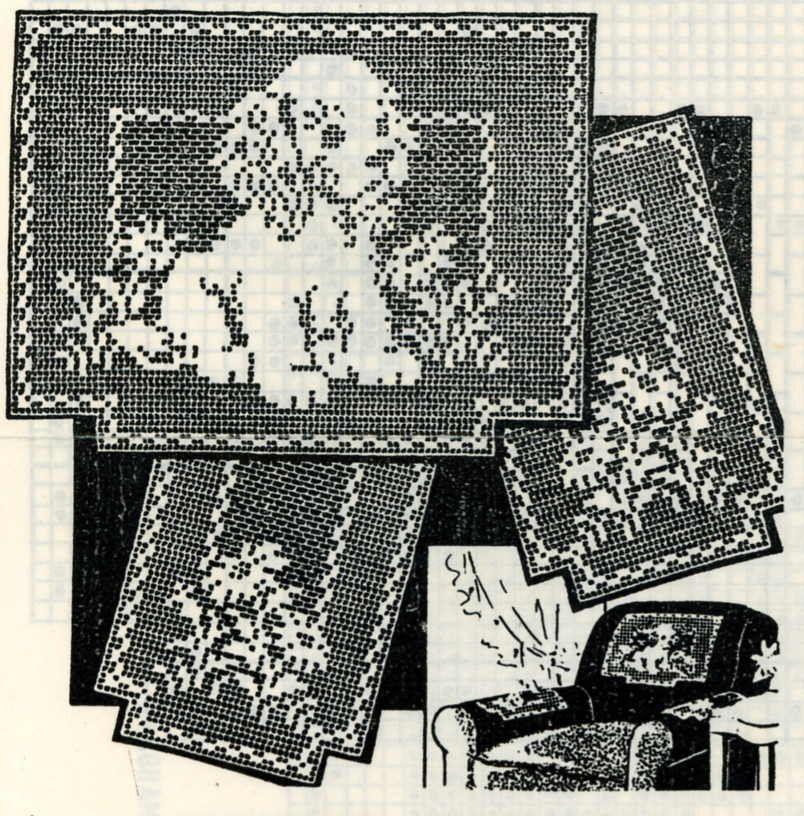Vintage Crochet Pattern 2538 Chair Set Filet Crochet Puppy Daisys