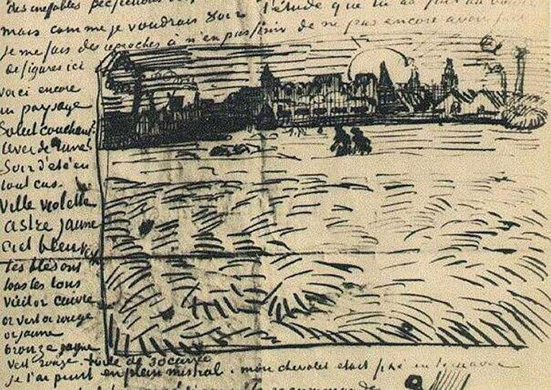 Vincent van Gogh, Sketch of the starry night over the ...