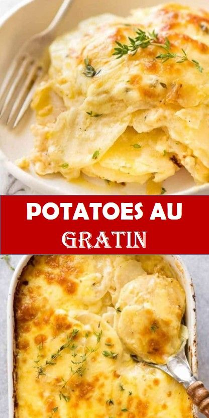 Tasty healthy food and drink that you definitely like Potatoes au Gratin The ultimate potato bake!!! Potato + cream + cheese with a hint of garlic and thyme created by the French = pure heaven. Based on Julia Child's Potato Dauphinoise recipe. This is THE perfect make ahead potato dish.