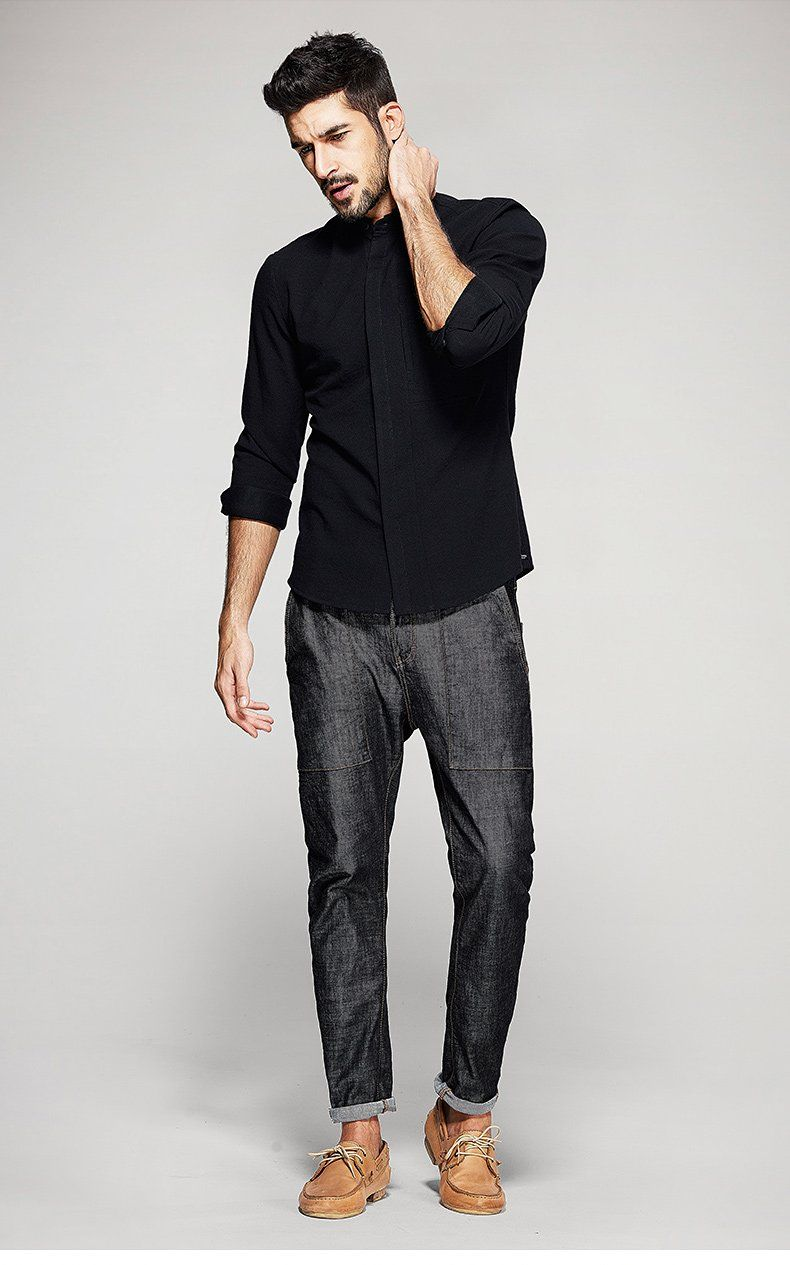 Long sleeve casual slim fit shirt with velvet mens