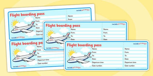 Editable Airline Boarding Pass - Airport, role play, pack - bus ticket template