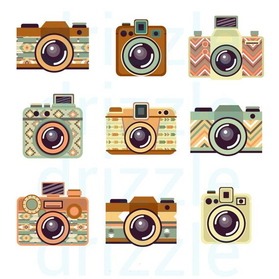 Camera kawaii. Clipart stickers planner