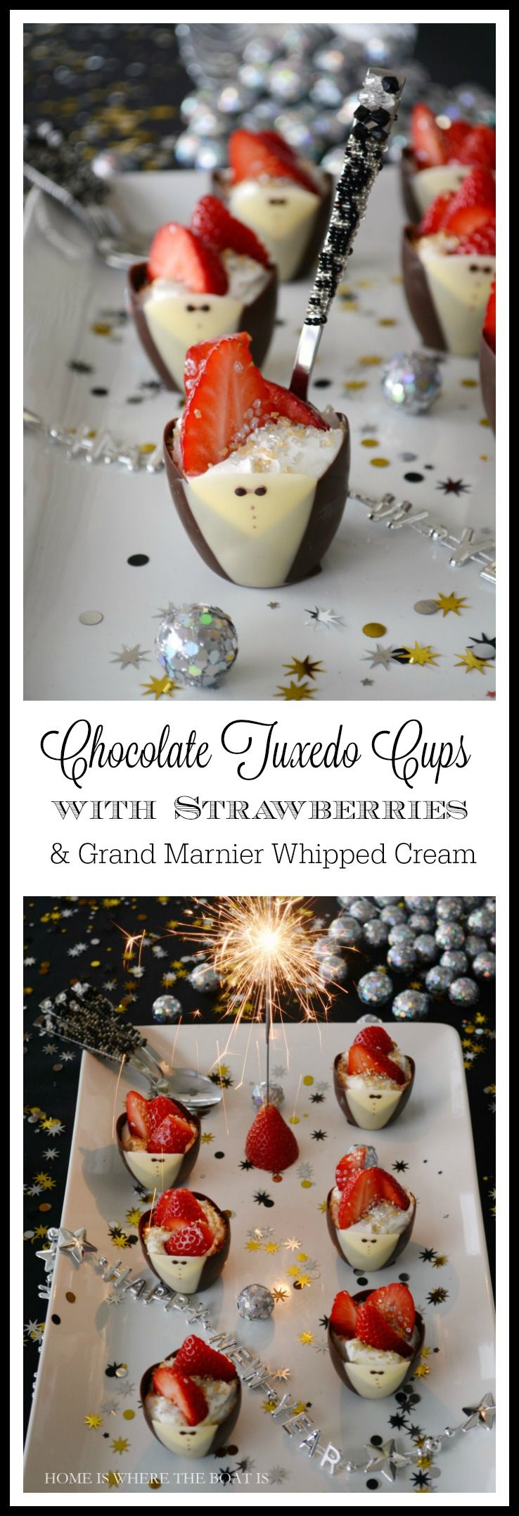 Chocolate Tuxedo Cups with Strawberries and Grand Marnier