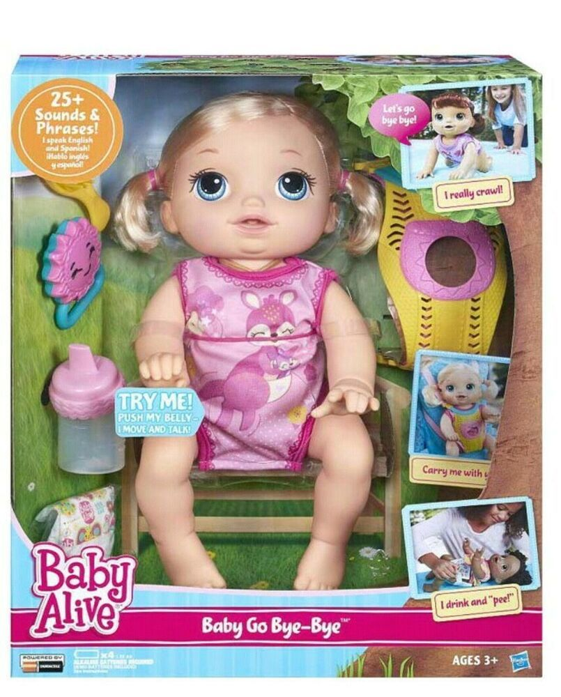 Baby Alive Baby Go Bye Bye Blonde Doll Crawls Talks 30 Sounds Phrases Hasbro Dolls Baby Alive Dolls Baby Alive Baby Doll Accessories