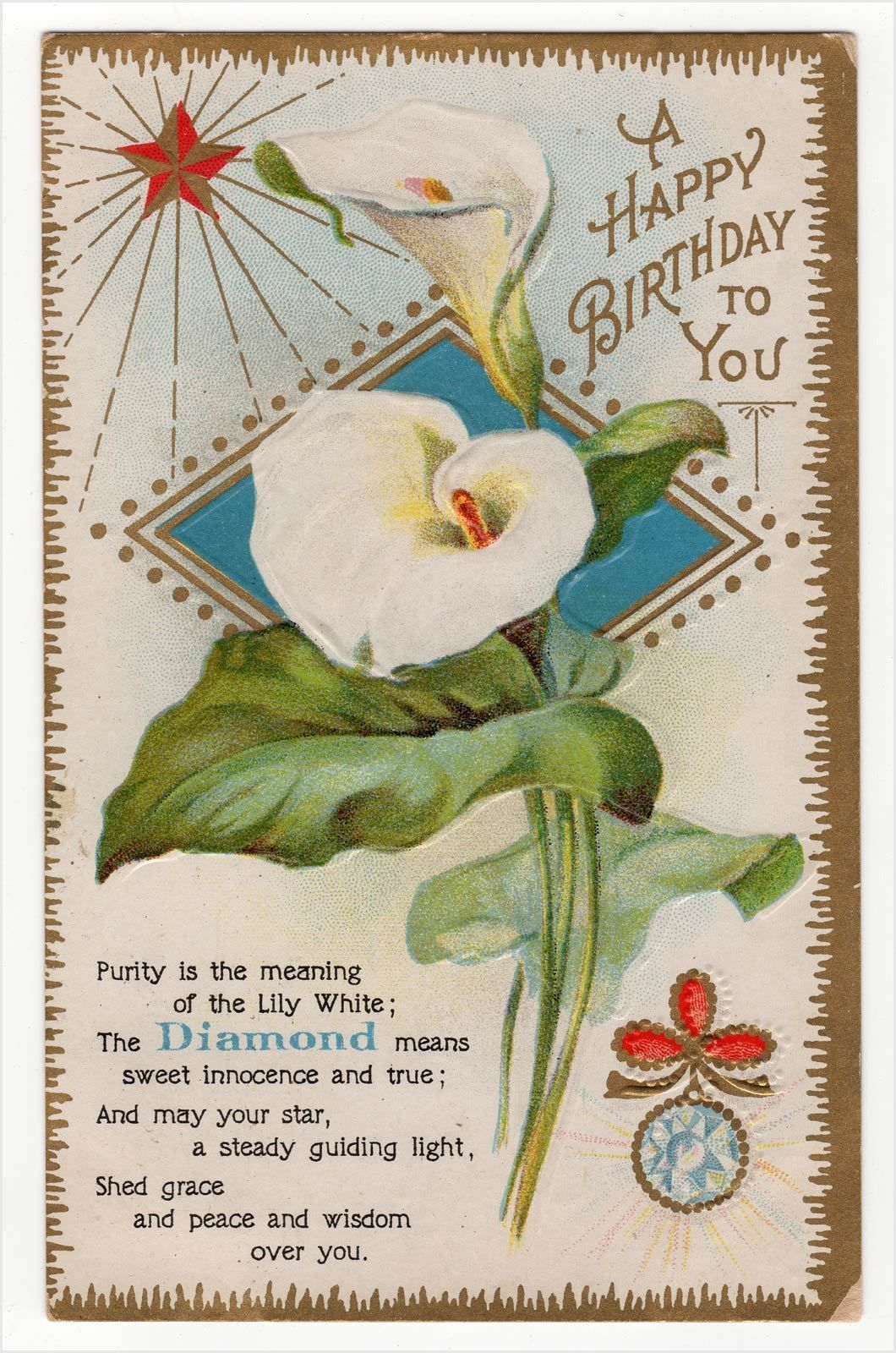 Diamond birthstone month of april birthday vintage postcard calla diamond birthstone month of april birthday vintage postcard calla lily flower ebay izmirmasajfo