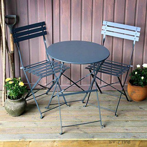 Alessia ensemble bistrot - GRIS | Table pliante noire avec chaises ...