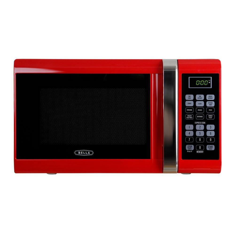 Bella 0 9 Cu Ft 900 Watt Countertop Microwave Oven In Red With