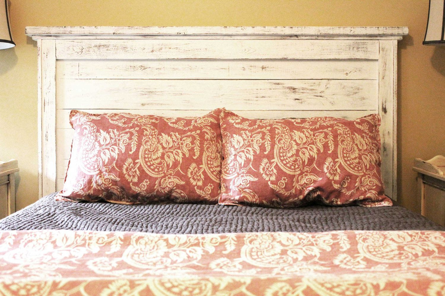 Reclaimed wood headboard with the boards from our old for Recycled headboards
